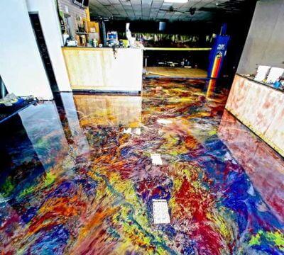After epoxy rainbow flooring