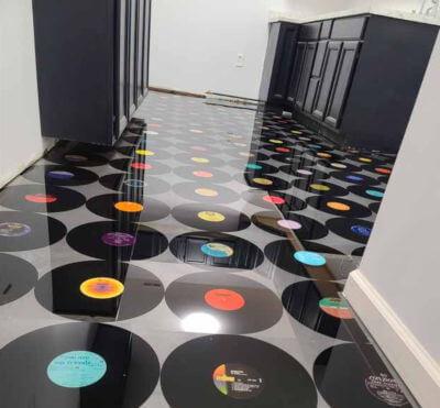 After epoxy vinyl flooring