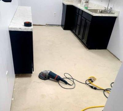 Before epoxy vinyl flooring